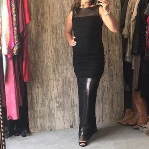 Max Studio black and silver mesh gown